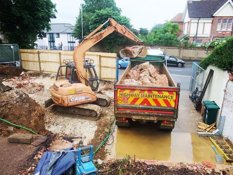 Hove 'Passivhaus' garage excavation